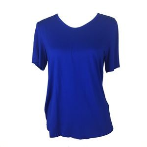eileen fisher scoop neck short sleeve blue tshirt